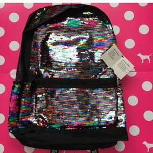 VS PINK rainbow bling sequin campus backpack